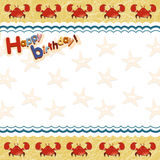 Children frame with crab and sea star Royalty Free Stock Images