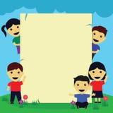 Children Frame. Frame with cute children cartoon Stock Photos