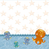 Children frame with a fun octopus Royalty Free Stock Photography