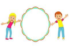 Children frame. Kids, boy and girl smiling and waving, illustration, vector royalty free illustration