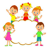Children frame. kids, boys and girls smiling and waving Royalty Free Stock Photos