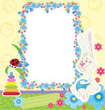 Children frame with rabbit Stock Image