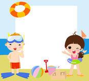 Children and frame-summer Royalty Free Stock Images