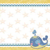 Children frame with a whale and a sea star Royalty Free Stock Photo