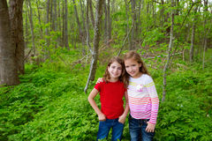 Children friend girls playing on the jungle park forest Royalty Free Stock Photos