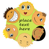 Children friends faces illustration Royalty Free Stock Photos