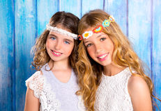 Children friends girls hippie retro style smiling together Royalty Free Stock Photography