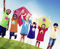 Children Friends Kite Colourful Kids Smiling Concept Royalty Free Stock Images