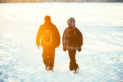 Children friends walking with school backpacks Royalty Free Stock Photography
