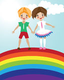 Children friendship illustration. Cute boy and girl staying at rainbow Stock Photos