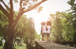 Kids Friendship. Children Friendship Togetherness Concept. African american little boy and girl hug each other in summer sunny day back view Stock Images