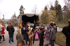 Children front jail (kiosk with inscription šatlava - prison) Royalty Free Stock Images