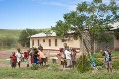Children in front of a school - hostel  in Namibia Stock Photography