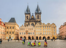 Children in front of Tyn Cathedral in Prague Royalty Free Stock Photo