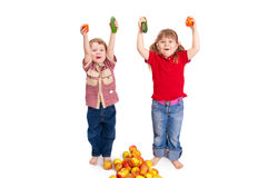 Children with fruit and vegetables Royalty Free Stock Image