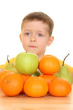 Children and fruits royalty free stock photos