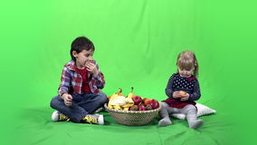 Children, fruits and green screen 4k ProRes, 4.2.2 10bit stock footage