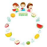 Children And Fruits Objects Icons On Circle Frame Stock Photo