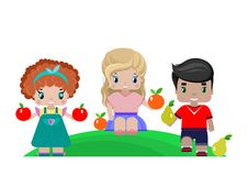 children with fruits stock illustration