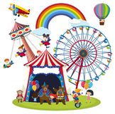 Children at a fun park scene vector illustration