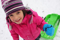 Children fun on the snow Stock Photos