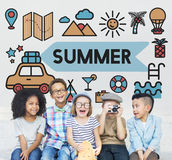 Children Fun Summer Together Concept Stock Images