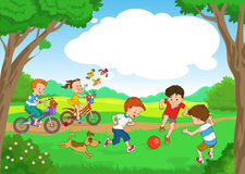 Children. Funny cartoon. Vector illustration. Funny kids ride bikes along the forest summer day. joyful kids play ball on the lawn stock illustration