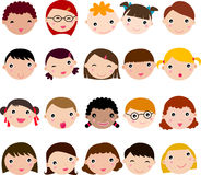 Children funny faces. Set cartoons Stock Photo