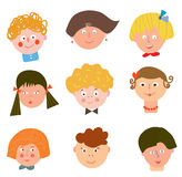 Children funny faces set Stock Images