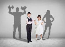 Children and the future shadows Royalty Free Stock Images