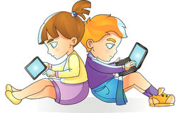 Children with gadgets, boy and laptop, girl reads tablet, vector Stock Photo