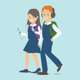Children with gadgets. Girl and boy with the phone. Education an Stock Images