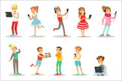 Children And Gadgets Set Of Illustrations With Kids Watching, Listening And Playing Using Electronic Devices royalty free illustration