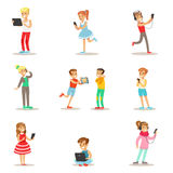 Children And Gadgets Set Of Illustrations With Kids Watching, Listening And Playing Using Electronic Devices Royalty Free Stock Photography