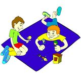 Children game. Cartoon image that shows a pair of children playing with toys. Hi-Res image that can be used in t-shirts, web-based designs and much more. Also royalty free illustration