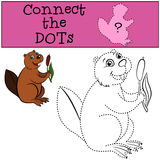 Children Games: Connect the Dots. Little cute beaver. Children Games: Connect the Dots. Little cute beaver holds a reed in the hands stock illustration