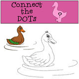 Children Games: Connect the Dots. Little cute duck. Stock Photography