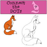 Children Games: Connect the Dots. Little cute fox. Children Games: Connect the Dots. Little cute fox sits and smiles Stock Illustration