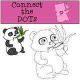 Children Games: Connect the Dots. Little cute panda. Children Games: Connect the Dots. Little cute panda eats leaves Royalty Free Stock Photos