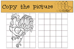 Children games: Copy the picture. Beautiful cute rooster. Royalty Free Stock Photography