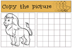 Children games: Copy the picture. Cute beautiful lion. Children games: Copy the picture. Cute beautiful lion stands and smiles stock illustration