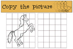 Children games: Copy the picture. Cute horse. Stock Photography