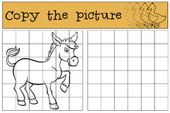 Children games: Copy the picture. Cute little donkey. Children games: Copy the picture. Cute little donkey stands and smiles stock illustration