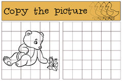 Children games: Copy the picture. Little cute baby bear. Stock Photos