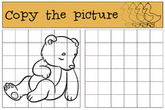 Children games: Copy the picture. Little cute baby bear sleeps. Royalty Free Stock Photos
