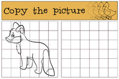 Children games: Copy the picture. Little cute baby fox smiles. Children games: Copy the picture. Little cute baby fox stands and smiles vector illustration