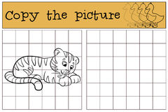 Children games: Copy the picture. Little cute baby tiger smiles. Children games: Copy the picture. Little cute baby tiger lays and smiles vector illustration