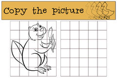 Children games: Copy the picture. Little cute beaver. Royalty Free Stock Images