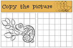 Children games: Copy the picture. Little cute chameleon  Royalty Free Stock Photo