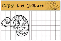 Children games: Copy the picture. Little cute chameleon. Stock Photography